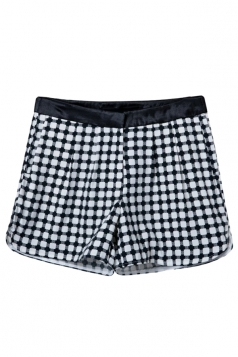 Mini Shorts Womens Plaid Printed Black