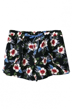 Mini Shorts Ladies Floral Printed Ribbon Casual Red