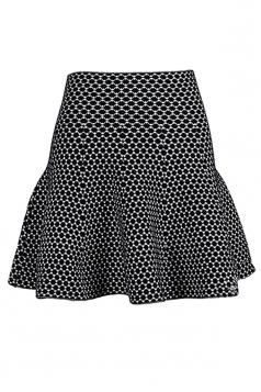 Black High Waist Striped Cute Womens Pleated Skirt