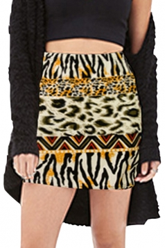 Coffee Ladies Leopard Tribe Sexy Mini Pencil Skirt