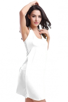 White Ladies Sexy Halter Plain Summer Chic Beach Dress