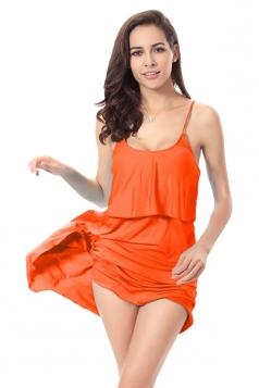 Orange Sexy String Womens Plain Trendy Modest Beach Dress