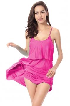 Rose Red Sexy String Womens Plain Trendy Modest Beach Dress