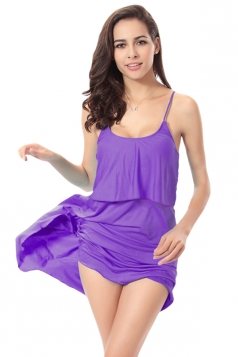 Purple Sexy String Womens Plain Trendy Modest Beach Dress