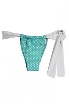 Blue Cute Ladies Polka Dot Fashion String Bikini Bottom