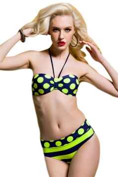 Green Sexy Halter Swimsuit Top & Polka Dot Cut Bikini Bottom
