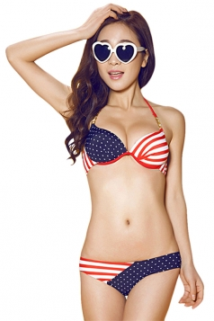 Blue Vintage Flag Bikini Top & Sexy Chic Swimwear Bottom