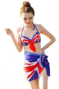Blue Union Jack Flag Bikini Top & High Waisted Sarong Swimwear Bottom