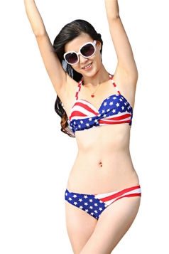 Blue Stars and Stripes Flag Bikini Top & Cute Chic Swimwear Bottom