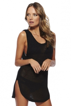 Black Sexy Womens Sheer Sleeveless Summer Beach Dress