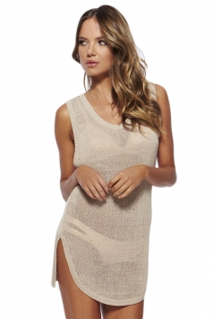 White Sexy Womens Sheer Sleeveless Summer Beach Dress
