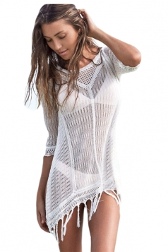 White Sexy Ladies Crochet Sheer Beach Casual Dress
