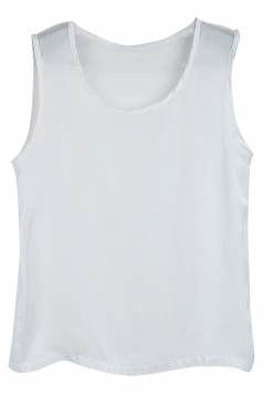 Pure White Ladies Polyester Fiber Sleeveless Loose Camisole Tops
