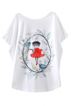 White Red Dress Cat Printed Funny Ladies T Shirt