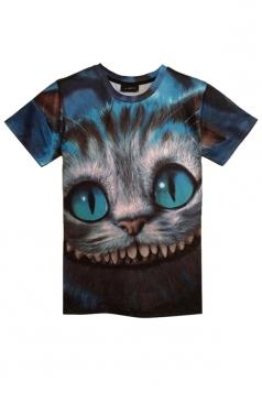 Blue Ladies Short Sleeve Cute Cat Printed T Shirt
