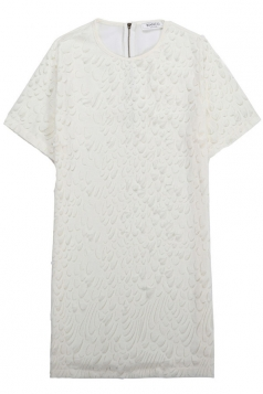 White Ladies Embroided Pullover Shirt Dresses