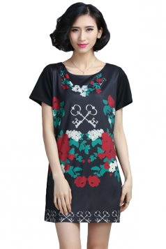 Black A-line Floral Printed Pullover Shirt Dresses