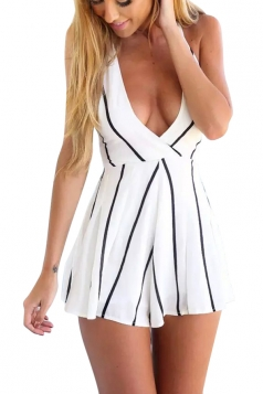 White Striped Deep V Low Cut Backless Sexy Ladies Romper