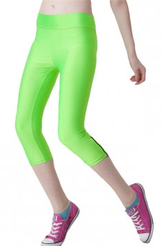Green Ladies Candy Color 3/4 High Waist with Zipper Capri Leggings