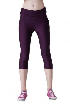 Purple Ladies Candy Color 3/4 High Waist with Zipper Capri Leggings