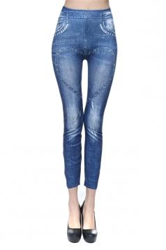 Blue Ladies Peach Heart Jeans Leggings