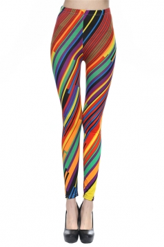 Red Ladies Fashion Croped Jeans Striped Leggings
