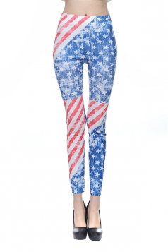 Blue Ladies American Flag Printed Seamless Leggings