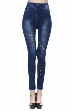 Black Ladies Plain Hollow Out Leggings