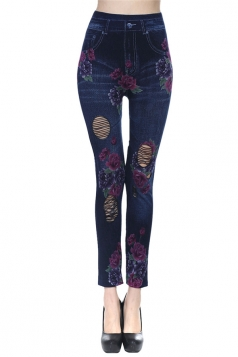 Black Ladies Hollow Out Rose Printed Leggings