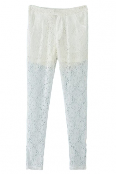 White Lace Embroidered Sheer Fashion Womens Leggings