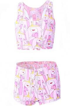 Pink 3D Cartoon Character Printed Chic Womens Tank Sweatshirt Suit
