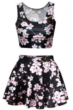 Black Plum Blossom Printed Skirt Suit