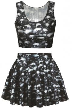 Black Skulls Printed Skirt Suits