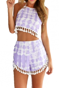 Purple Tassels Bohemian Style Bra Panty Set