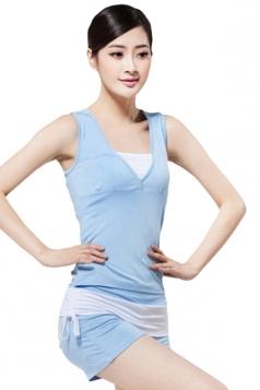 Blue Patchwork Yoga Workout Sweatshirt Suits