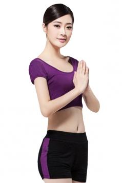 Purple Color Block Yoga Workou Sweatshirt Suits