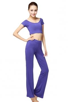 Blue Plain Modal Yoga Sweatshirt Suits