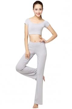 Gray Plain Modal Yoga Sweatshirt Suits