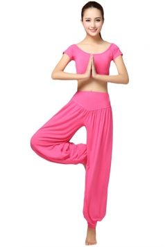 Rose Red Yoga Workout&Bloomer Sweatshirt Suits