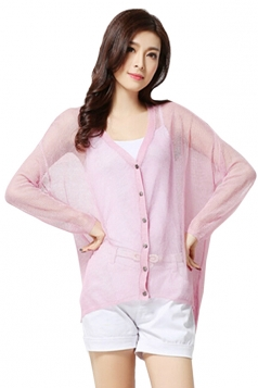 Pink Womens High Low Sheer Charming Cardigan Sweater