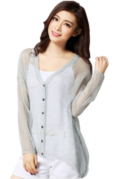 Turquoise Womens High Low Sheer Charming Cardigan Sweater