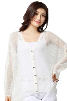 White Womens High Low Sheer Charming Cardigan Sweater