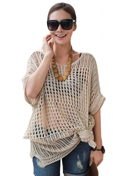 Beige Cut Out See Through Loose Ladies Pullover Sweater