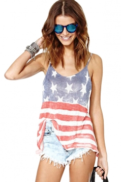 Blue Stars and Stripes Spaghetti Straps Ladies Camisole Top