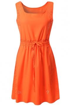 Orange Plain Sleeveless Tunic Fashion Womens Midi Dress