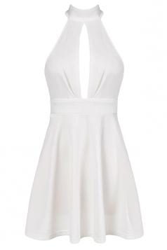 White Ladies Hollow Out Patchwork Halter Midi Dresses