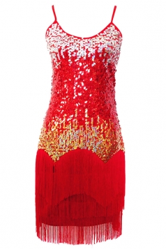 Red Ladies Gradient Tassel Sequin Tank Dress