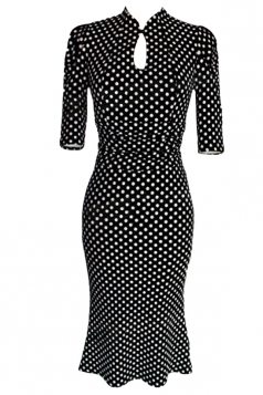 Black Ladies Sexy Hollow Out Stand Out Pencil Midi Dresses