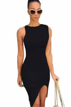 Black Ladies Sexy High Low Slit Bodycon