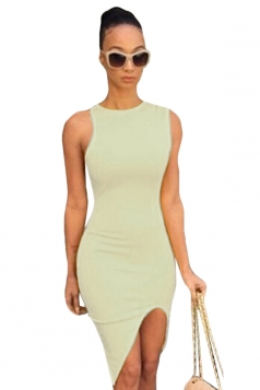 Khaki Ladies Sexy High Low Slit Bodycon